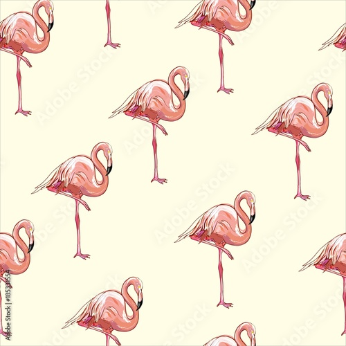 Canvas Prints Flamingo Bird Beautiful seamless vector tropical pattern background with flamingo and hibiscus. Abstract texture, stripes. Perfect for wallpapers, web page backgrounds, surface textures, textile.
