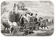 Old Illustration Of Haymaking In Funen Island, Denmark. Created By Frolik, Published On Le Tour Du Monde, Paris, 1862