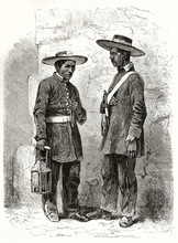 Old Illustration Of Two Serenos (nocturnal Watchmen In Mexico City) In Their Uniform Equipped With Lantern And Gun. By Riou And Maurand Published On Le Tour Du Monde Paris 1862