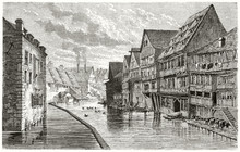 Typical Ancient Medieval Context Of A City Built Around A Canal With Its Sloping Roofs Wooden Houses. Old View Of Tanneries In Ulm Germany. By Lancelot And Dumont Published On Le Tour Du Monde 1862