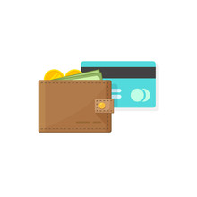 Leather Wallet With Coins Mone...