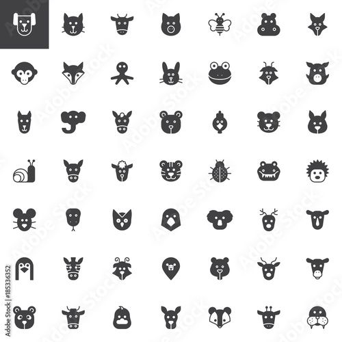 Animal Head Vector Icons Set Modern Solid Symbol Collection Filled