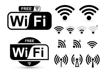 Set of free WiFi and zone sign. Remote access and radio waves communication symbols. Vector illustration. Isolated on white background