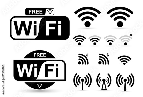 Cuadros en Lienzo  Set of free WiFi and zone sign