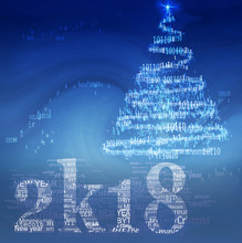Modern Concept  Happy New Year's Card In Style Of Programming And Cryptocurrencies. 2018 Is Written As 2k18, Made Of Words As Bitcoin,  Mining, And New Year Tree From Zero And Units Of Binary Code.