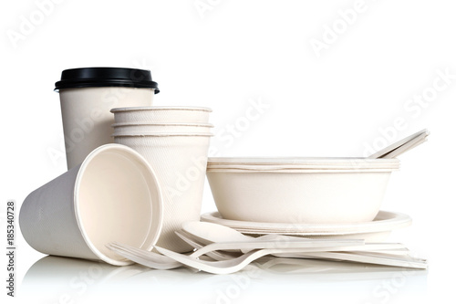Group of natural paper cups isolated on white background