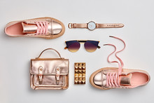 Fashion. Woman Gold Accessories Set. Trendy Fashion Handbag, Gold Shoes, Glamour Sunglasses, Stylish Watch. Layout. Luxury Spring Hipster Girl Outfit. Pastel Color