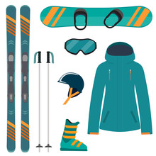 Skiing And Snowboarding Equipm...