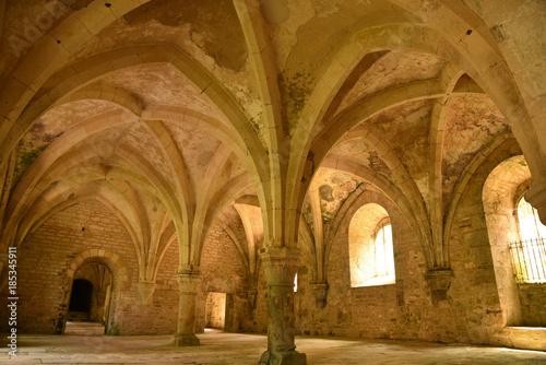 Poster de jardin Monument Voûtes médiévales de l'abbaye cistercienne de Fontenay en Bourgogne, France