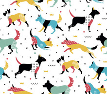 Simple Modern Pattern With Dogs In Memphis Style