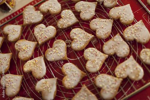 Confection de Bredalas alsaciens, petits gâteaux de Noël Canvas Print