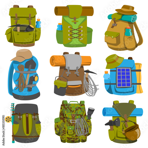 Obraz Backpack camp vector backpacking travel bag with tourist equipment in hiking camping and climbing sport knapsack or rucksack set illustration isolated on white background - fototapety do salonu