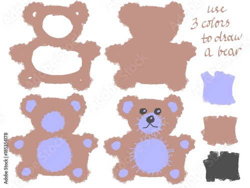 Fotografie, Obraz  Drawing step by step Blue Teddy Bear
