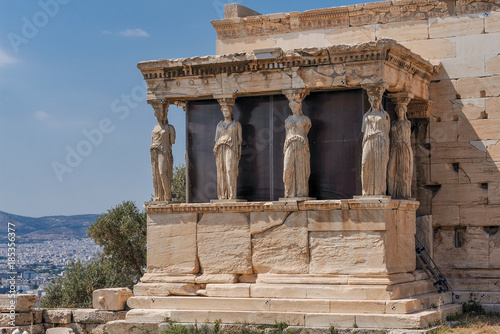The Caryatides in the Erechtheion part of Erechtheum at Acropolis of Athens. This temple was completed 406 BC and dedicated to Athena and Poseidon.