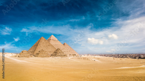 Photo Stands Egypt Panorama of the Great Pyramids of Giza, Egypt
