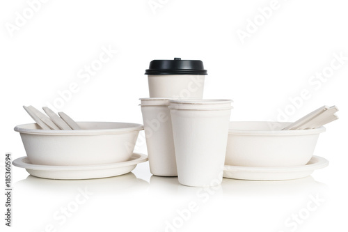 Group of white natural paper cups isolated on white background Canvas Print