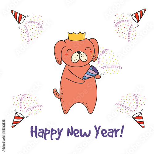 Hand drawn Happy New Year greeting card with cute funny cartoon dog ...