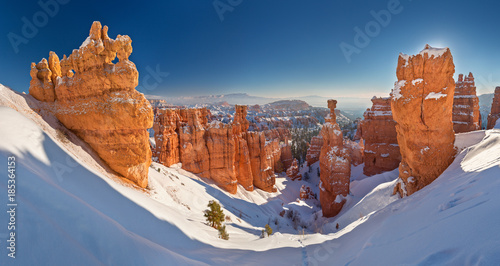 Fotomural Bryce Canyon National Park under snow , winter landscape