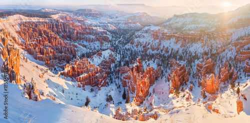 Bryce Canyon National Park under snow , winter landscape Wallpaper Mural