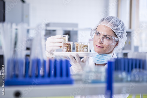 Scientist in lab examining seed samples