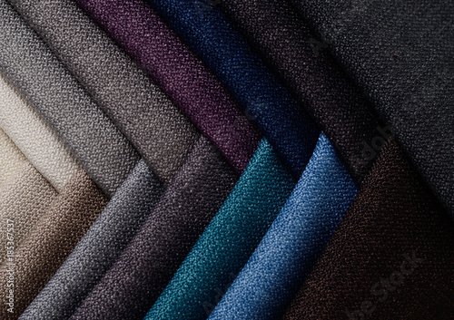 Foto op Aluminium Stof Bright collection of gunny textile samples. Fabric texture background.