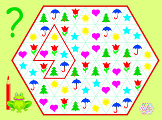 Logic puzzle game. Need to draw the lines so that every figure will have six different objects. Vector cartoon image.