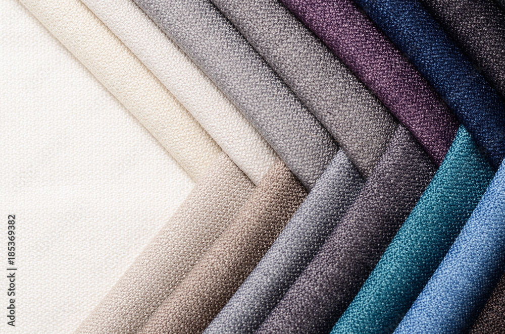 Fototapety, obrazy: Bright collection of gunny textile samples. Fabric texture background.