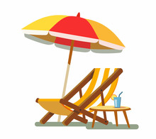 Deckchair And Umbrella On The ...