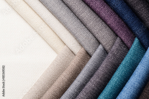Fotobehang Stof Bright collection of gunny textile samples. Fabric texture background.