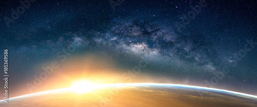 Foto op Aluminium Ochtendgloren Landscape with Milky way galaxy. Sunrise and Earth view from space with Milky way galaxy. (Elements of this image furnished by NASA)