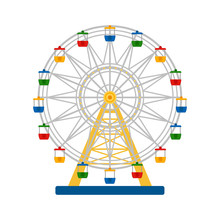 Colorful Ferris Wheel On White...