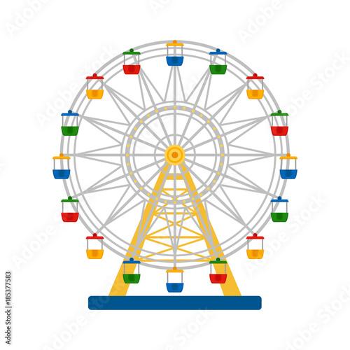 Fototapeta Colorful ferris wheel on white background, vector illustration obraz