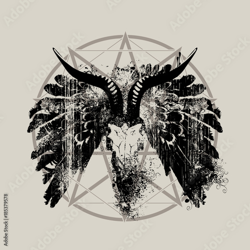 Fototapeta  Vector illustration with skull of goat, wings and pentagram with splashes and cu