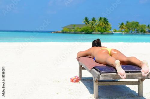 Obraz tropical beach Maldives - fototapety do salonu