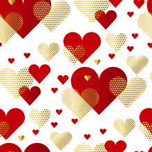 Modern Luxury Valentines Day Seamless Pattern. Festive Abstract Background With Gold And Red Hearts For Card, Wallpapers, Surface Design, Wrapping Papers.