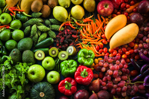 Foto auf Leinwand Gemuse Different fresh fruits and vegetables organic for eating healthy and dieting