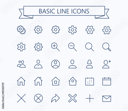 Basic Line Mini Icons Editable Stroke 24x24 Grid Pixel Perfect