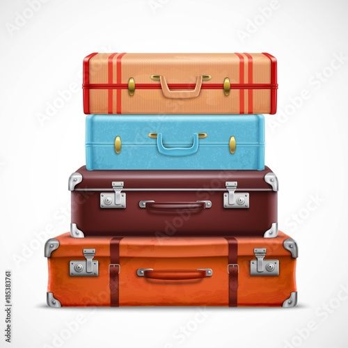 Retro Travel Luggage Suitcases Realistic Set Canvas Print