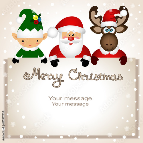 christmas card funny postcard with christmas elf christmas moose and santa - Elf Christmas Card