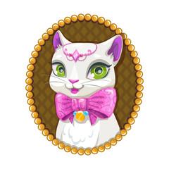 Cute white kitty princess portrait.