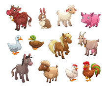 Set Of Cute Cartoon Farm Anima...