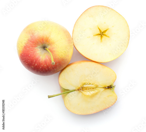 Sliced Apples Evelina Variety Top View Isolated On White