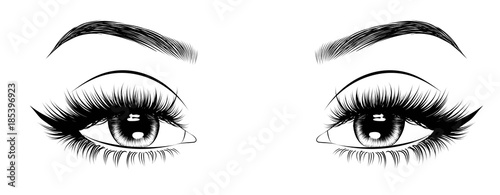 Hand-drawn woman's sexy luxurious eye with perfectly shaped eyebrows and full lashes Fototapeta