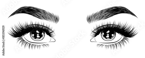 Obraz Hand-drawn woman's sexy luxurious eye with perfectly shaped eyebrows and full lashes. Idea for business visit card, typography vector. Perfect salon look. - fototapety do salonu