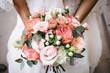 canvas print picture - Bride with bouquet, closeup