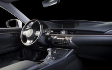 Modern Luxury Car  Interior, Dashboard, Steering Wheel, Wood Panels. Stitched Black Perforated  Leather Interior, Clipping Path For Isolated Windows Included.