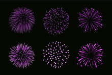 Beautiful Purple Fireworks Set. Bright Fireworks Isolated Black Background. Light Pink Decoration Fireworks For Christmas, New Year Celebration, Holiday Festival, Birthday Card. Vector Illustration