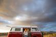 woman on an antique van