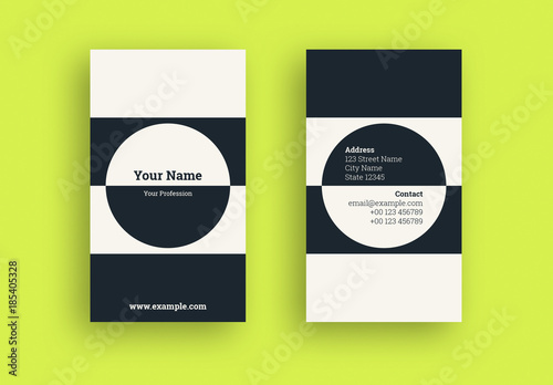 Business Card With A Circular And Stripe Two Tone Layout Buy This