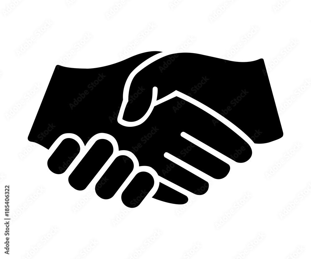 Fototapeta Uścisk dłoni na białym tle ilustracja
